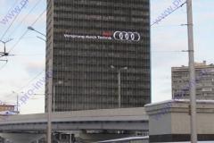 Специалистами нашей компании была спроектирована самая большая в Европе конструкция данного типа – «медийная решетка» на фасаде здания Гидропроекта на Волоколамском шоссе размером 79х48м.